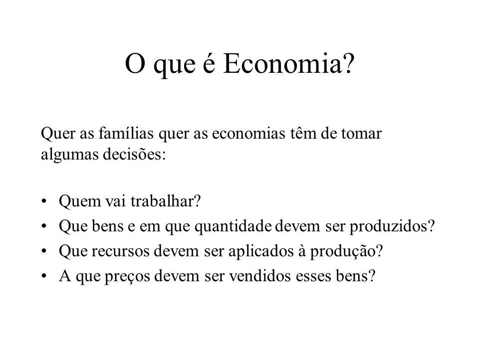 O que é Economia.Quem vai trabalhar. Que bens e em que quantidade devem ser produzidos.