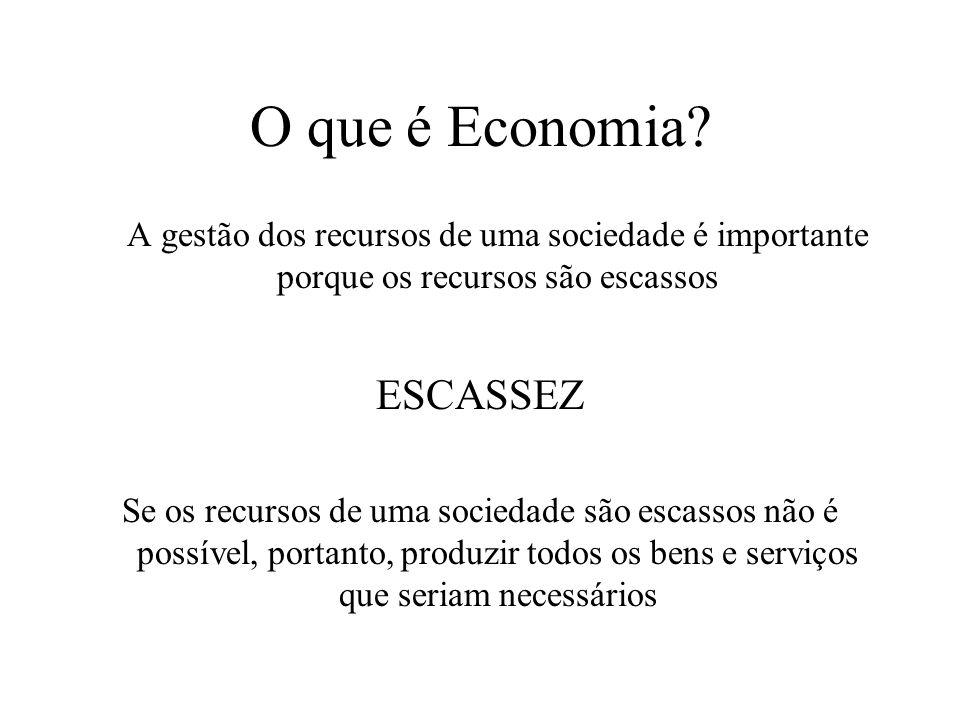 O que é Economia? Quem vai trabalhar? Que bens e em que quantidade devem ser produzidos? Que recursos devem ser aplicados à produção? A que preços dev