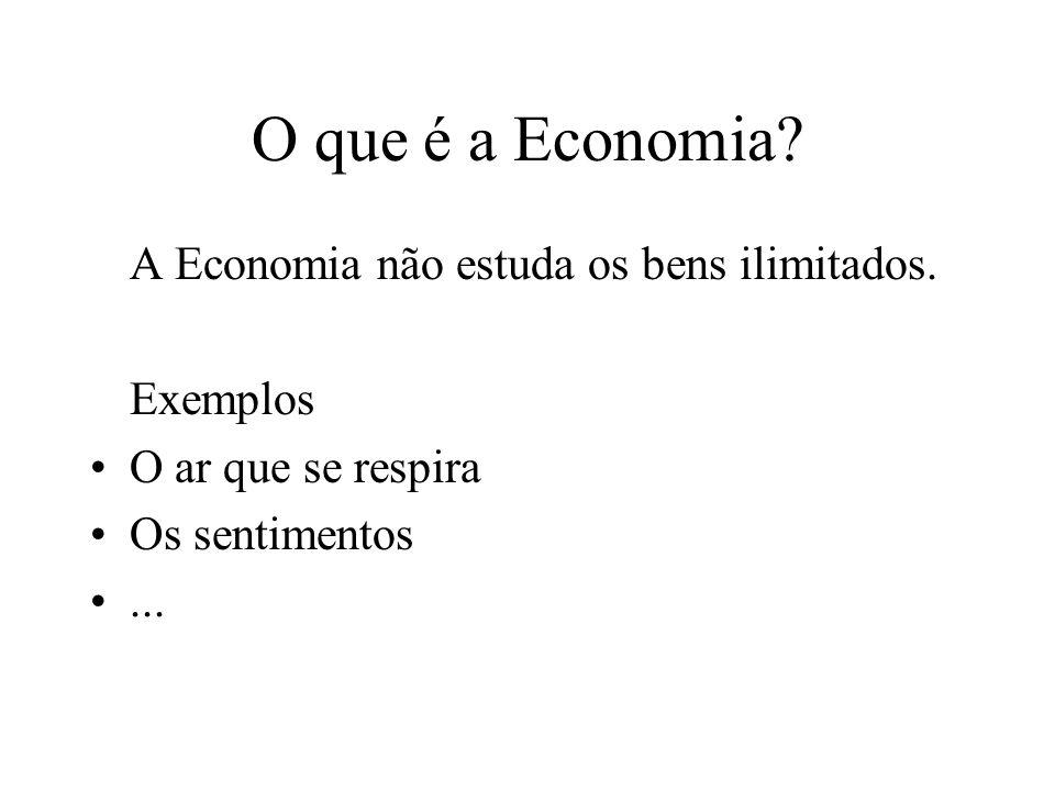 O que é a Economia.A Economia não estuda os bens ilimitados.