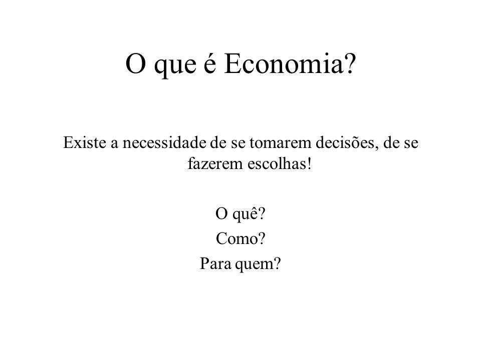 O que é Economia.Existe a necessidade de se tomarem decisões, de se fazerem escolhas.