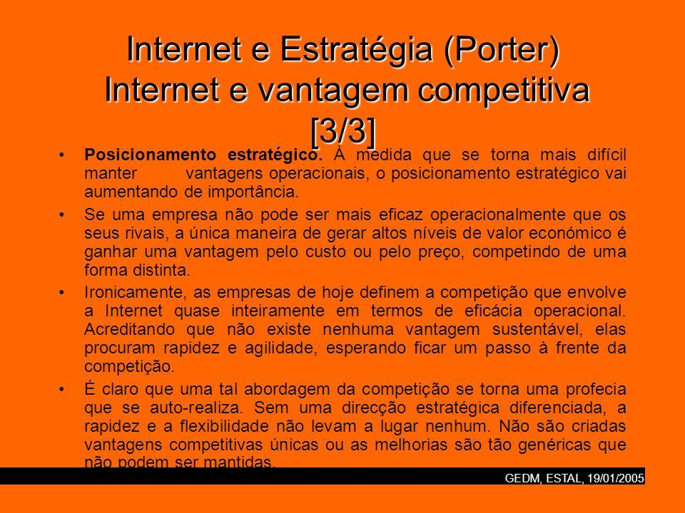 GEDM, ESTAL, 19/01/2005 Internet e Estratégia (Porter) Ausência de estratégia [1/2] Muitos dos pioneiros em negócios na Internet, tanto as dotcoms como as empresas estabelecidas, competiram de uma maneira que viola todas as noções de boa estratégia.