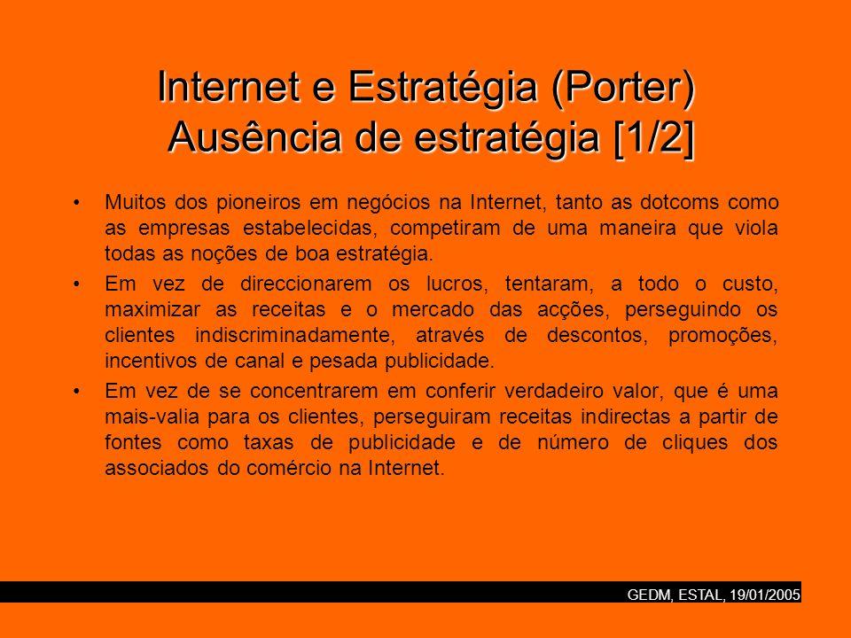 GEDM, ESTAL, 19/01/2005 Internet e Estratégia (Porter) Ausência de estratégia [2/2] Em vez de fazerem negociações, esforçaram-se por oferecer todos os produtos, serviços ou tipo de informação que se possam imaginar.