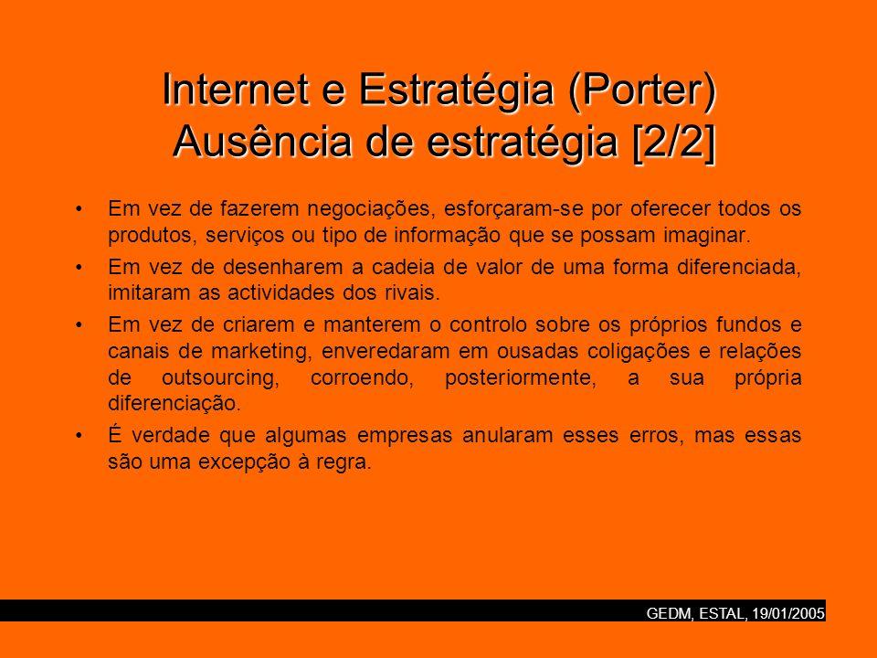 GEDM, ESTAL, 19/01/2005 Internet e Estratégia (Porter) Ausência de estratégia [2/2] Em vez de fazerem negociações, esforçaram-se por oferecer todos os