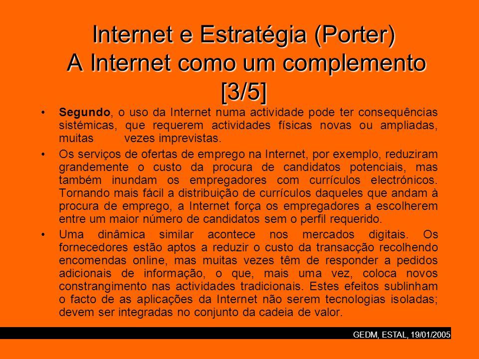 GEDM, ESTAL, 19/01/2005 Internet e Estratégia (Porter) A Internet como um complemento [3/5] Segundo, o uso da Internet numa actividade pode ter conseq