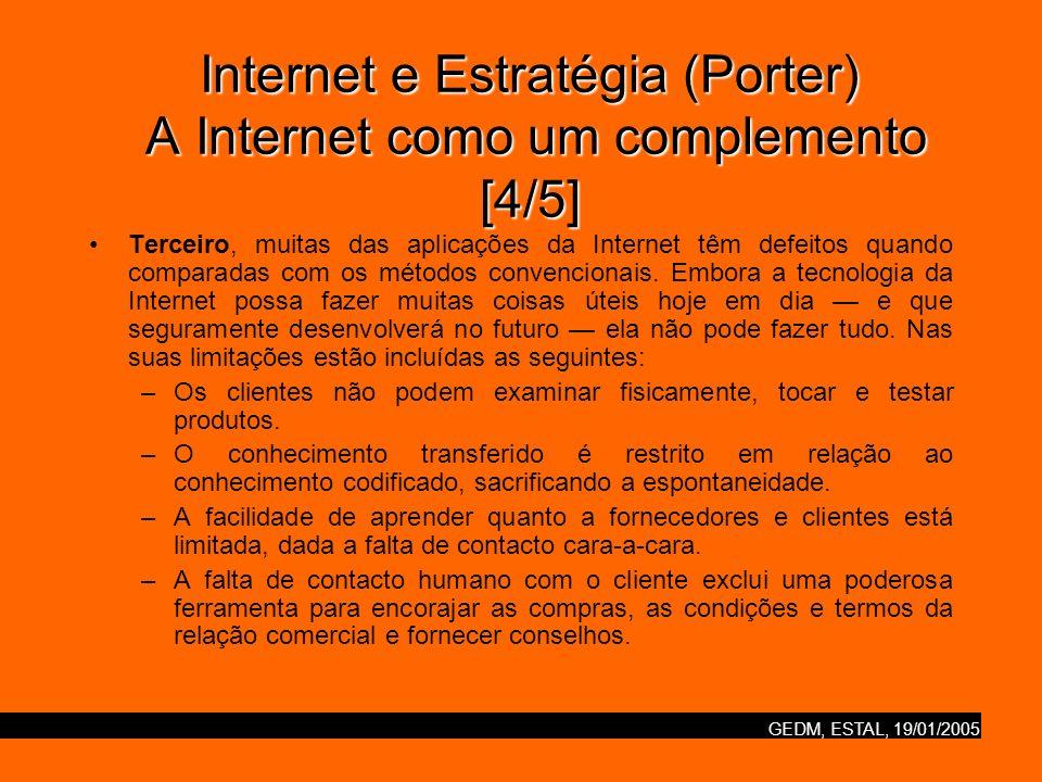 GEDM, ESTAL, 19/01/2005 Internet e Estratégia (Porter) A Internet como um complemento [5/5] –São requeridos custos de logística extras para instalar, empacotar e transportar pequenos carregamentos.