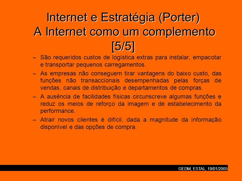 GEDM, ESTAL, 19/01/2005 Internet e Estratégia (Porter) Nova / velha economia [1/2] As dotcoms devem prosseguir as suas próprias estratégias diferenciadas, em vez de rivalizar com uns e outros ou com o posicionamento das empresas estabelecidas.