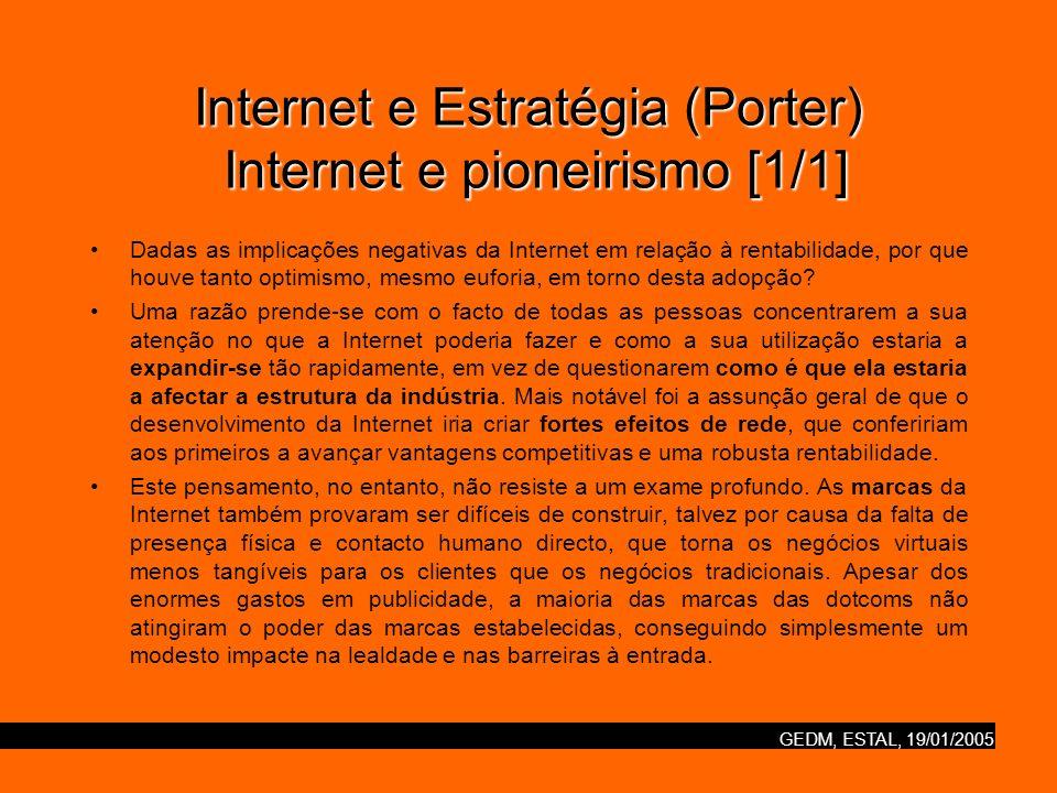 GEDM, ESTAL, 19/01/2005 Internet e Estratégia (Porter) Internet e pioneirismo [1/1] Dadas as implicações negativas da Internet em relação à rentabilid