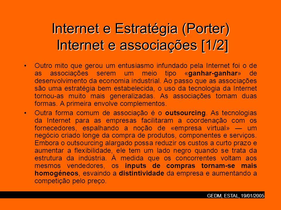 GEDM, ESTAL, 19/01/2005 Internet e Estratégia (Porter) Internet e associações [1/2] Outro mito que gerou um entusiasmo infundado pela Internet foi o d