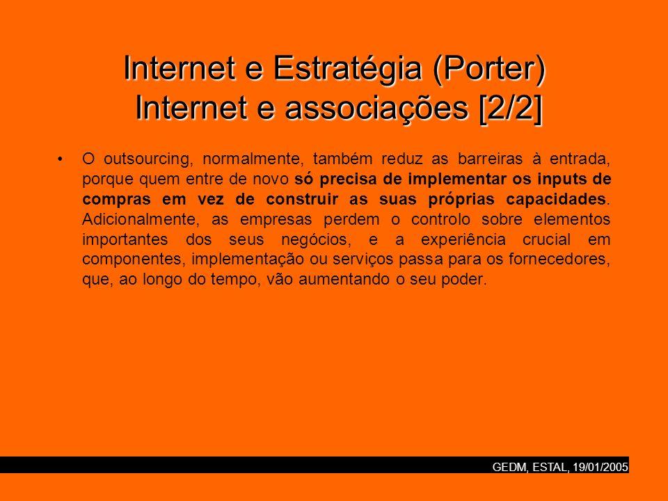 GEDM, ESTAL, 19/01/2005 Internet e Estratégia (Porter) O futuro da competição na Internet [1/3] Enquanto cada indústria se envolver de uma única forma, o exame das forças que influenciam a estrutura da indústria indica que a adesão à tecnologia da Internet irá da mesma forma continuar a pressionar a rentabilidade.