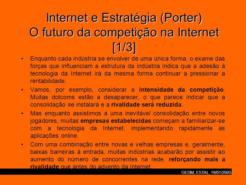 GEDM, ESTAL, 19/01/2005 Internet e Estratégia (Porter) O futuro da competição na Internet [2/3] O poder dos consumidores também tenderá a aumentar.