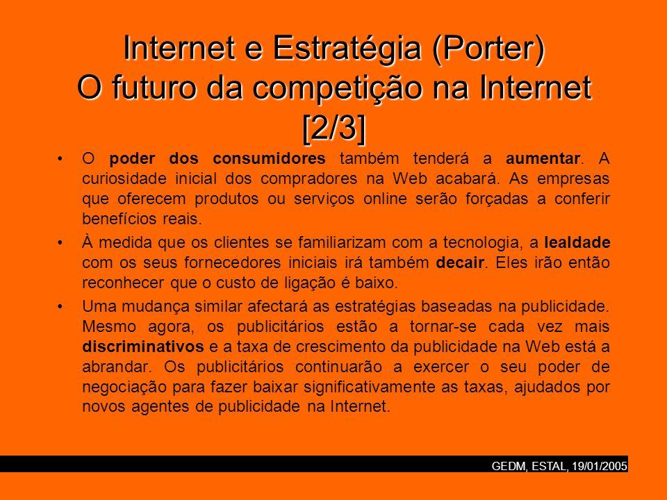 GEDM, ESTAL, 19/01/2005 Internet e Estratégia (Porter) O futuro da competição na Internet [2/3] O poder dos consumidores também tenderá a aumentar. A