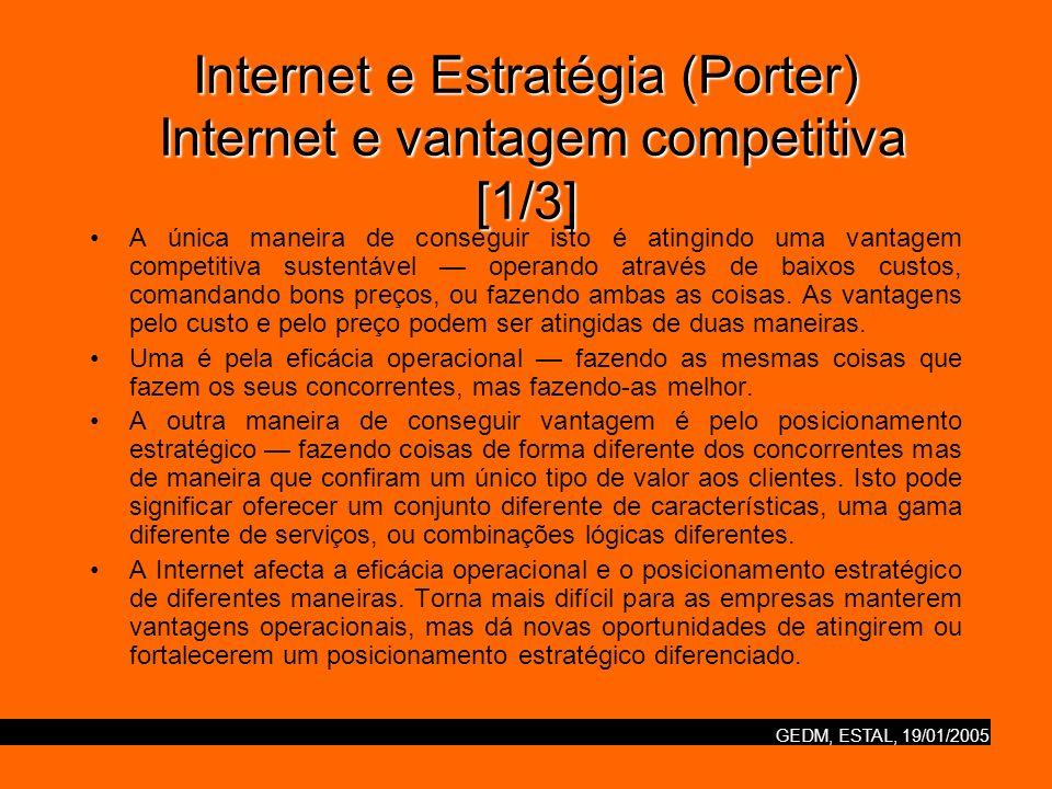 GEDM, ESTAL, 19/01/2005 Internet e Estratégia (Porter) Internet e vantagem competitiva [1/3] A única maneira de conseguir isto é atingindo uma vantage