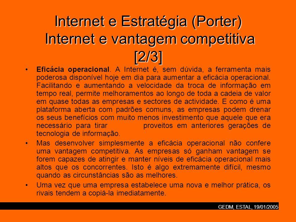 GEDM, ESTAL, 19/01/2005 Internet e Estratégia (Porter) Internet e vantagem competitiva [2/3] Eficácia operacional. A Internet é, sem dúvida, a ferrame