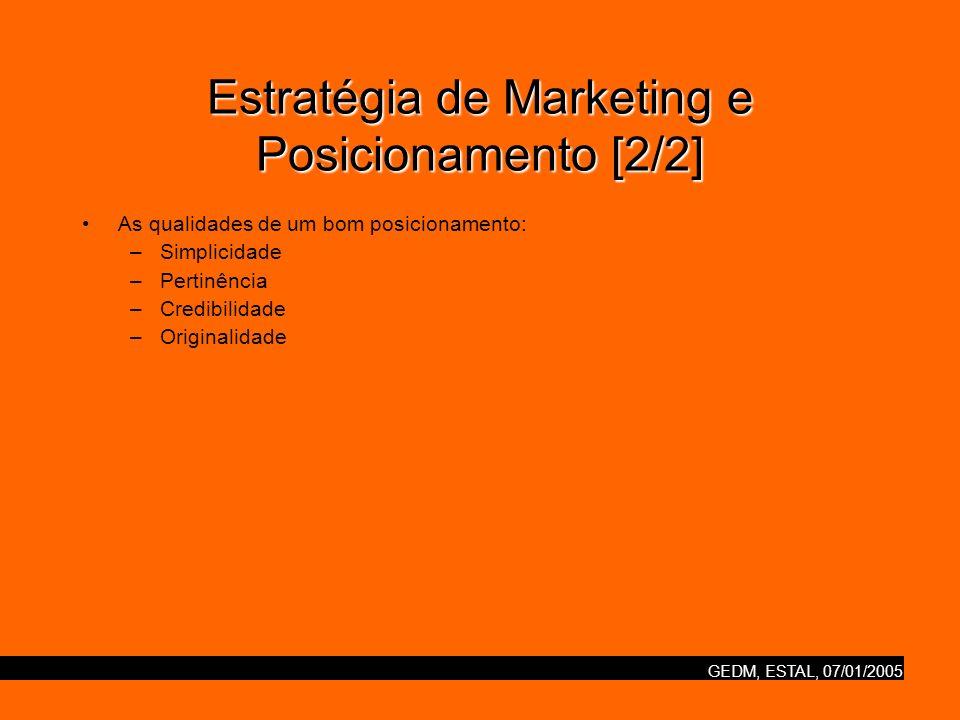 GEDM, ESTAL, 07/01/2005 Estratégia de Marketing e Posicionamento [2/2] As qualidades de um bom posicionamento: –Simplicidade –Pertinência –Credibilidade –Originalidade