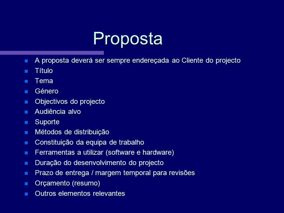 Proposta A proposta deverá ser sempre endereçada ao Cliente do projecto A proposta deverá ser sempre endereçada ao Cliente do projecto Título Título T