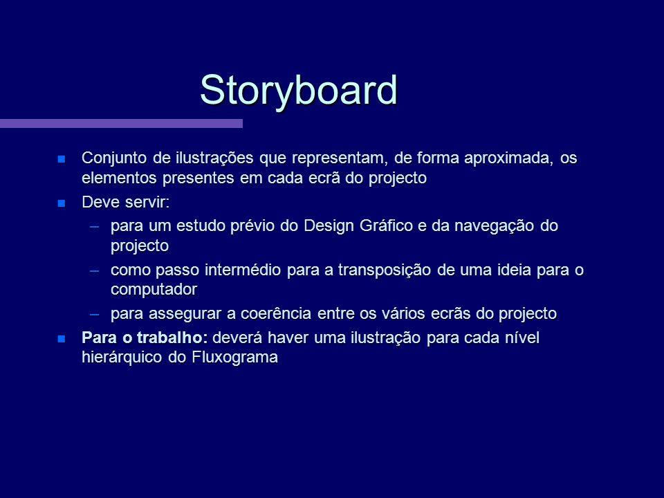 Storyboard Conjunto de ilustrações que representam, de forma aproximada, os elementos presentes em cada ecrã do projecto Conjunto de ilustrações que r