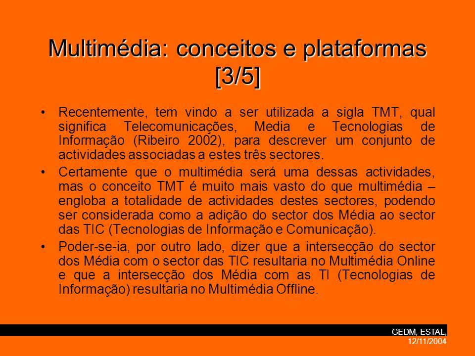 GEDM, ESTAL, 12/11/2004 Multimédia:conceitos e plataformas [3/5] Multimédia: conceitos e plataformas [3/5] Recentemente, tem vindo a ser utilizada a sigla TMT, qual significa Telecomunicações, Media e Tecnologias de Informação (Ribeiro 2002), para descrever um conjunto de actividades associadas a estes três sectores.
