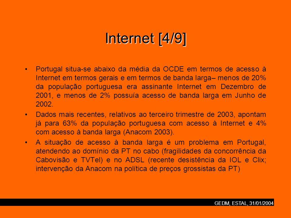 GEDM, ESTAL, 31/01/2004 Internet [4/9] Portugal situa-se abaixo da média da OCDE em termos de acesso à Internet em termos gerais e em termos de banda larga– menos de 20% da população portuguesa era assinante Internet em Dezembro de 2001, e menos de 2% possuía acesso de banda larga em Junho de 2002.