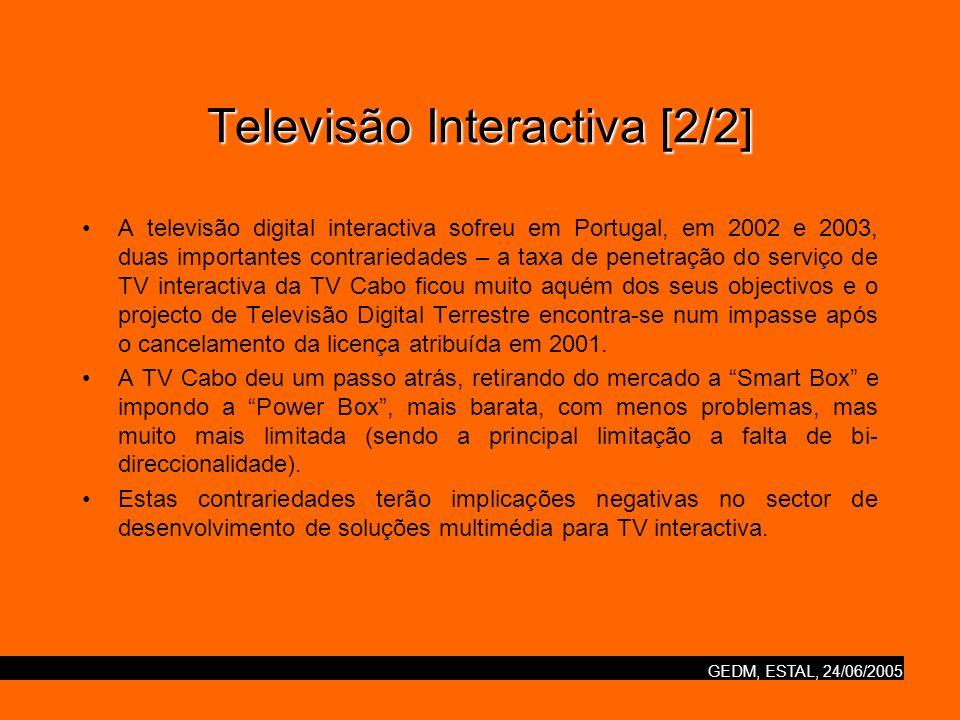 GEDM, ESTAL, 24/06/2005 Televisão Interactiva [2/2] A televisão digital interactiva sofreu em Portugal, em 2002 e 2003, duas importantes contrariedades – a taxa de penetração do serviço de TV interactiva da TV Cabo ficou muito aquém dos seus objectivos e o projecto de Televisão Digital Terrestre encontra-se num impasse após o cancelamento da licença atribuída em 2001.