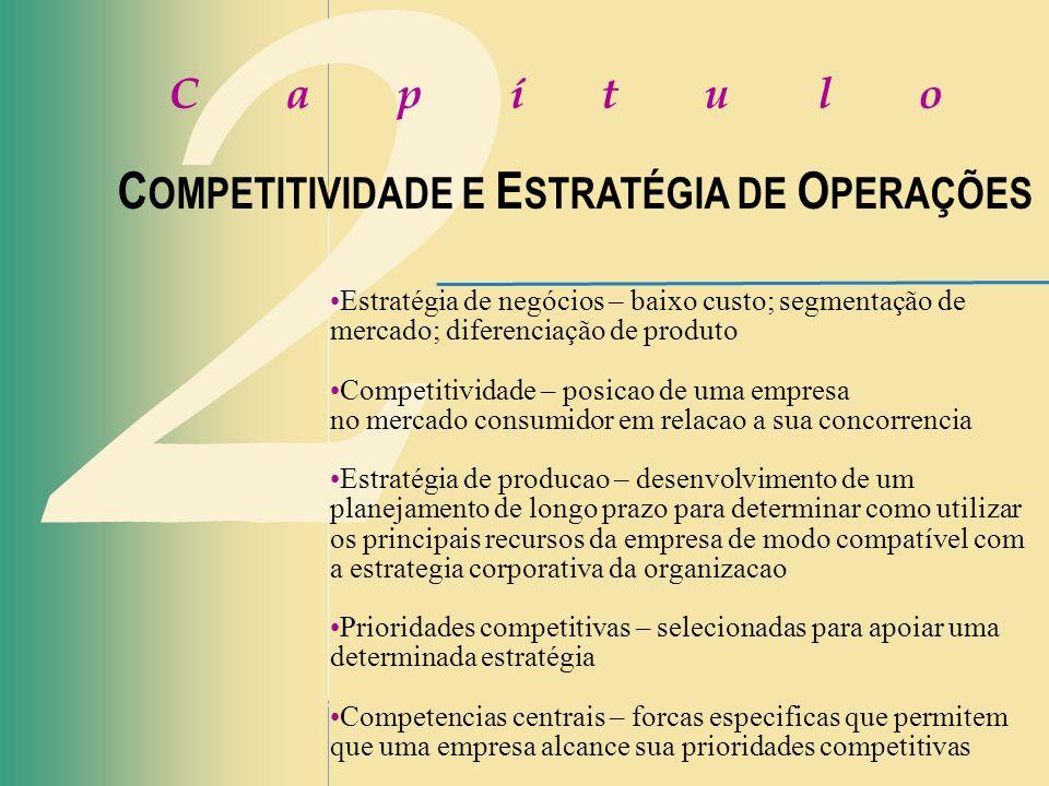 2 C a p í t u l o C OMPETITIVIDADE E E STRATÉGIA DE O PERAÇÕES Estratégia de negócios – baixo custo; segmentação de mercado; diferenciação de produto