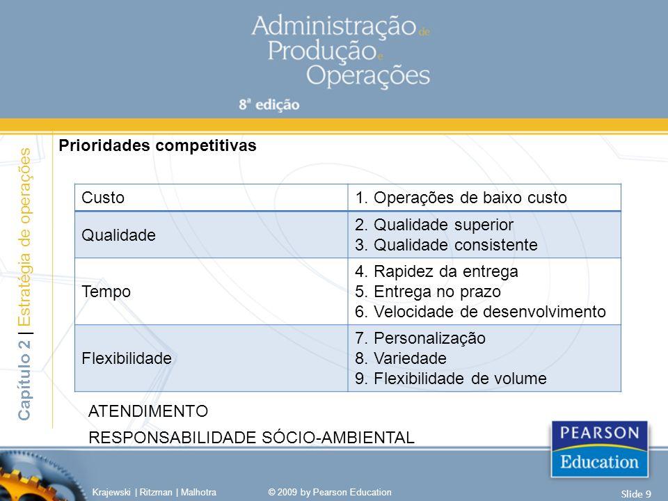 Prioridades competitivas Krajewski | Ritzman | Malhotra© 2009 by Pearson Education Slide 9 Capítulo 2 | Estratégia de operações Custo1. Operações de b