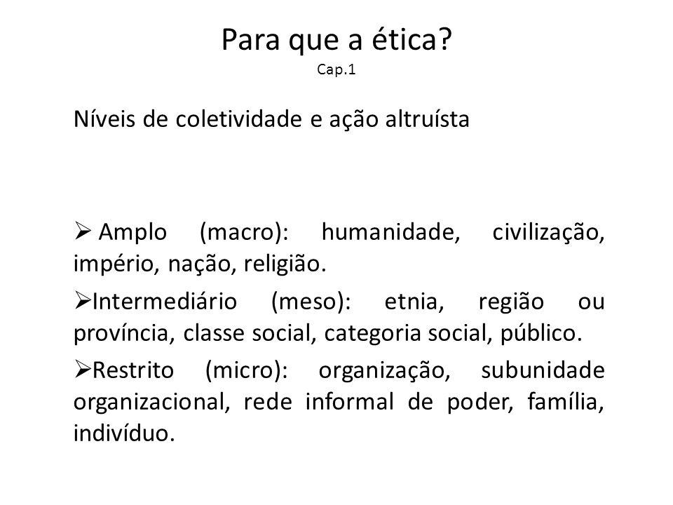 Para que a ética? Cap.1 Níveis de coletividade e ação altruísta Amplo (macro): humanidade, civilização, império, nação, religião. Intermediário (meso)