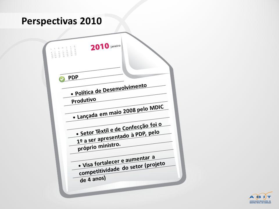 PDP Política de Desenvolvimento Produtivo Perspectivas 2010 Lançada em maio 2008 pelo MDIC Setor Têxtil e de Confecção foi o 1º a ser apresentado à PD