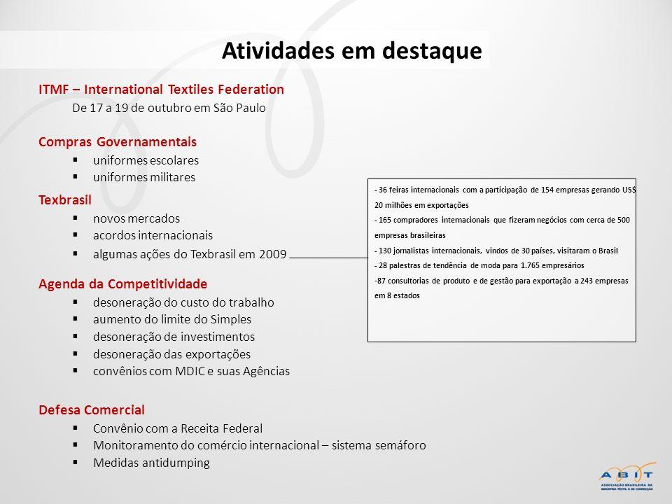 ITMF – International Textiles Federation De 17 a 19 de outubro em São Paulo Atividades em destaque - 36 feiras internacionais com a participação de 15