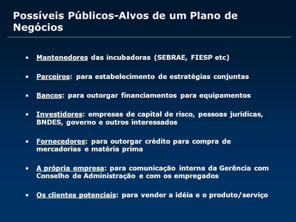 Possíveis Públicos-Alvos de um Plano de Negócios Mantenedores das incubadoras (SEBRAE, FIESP etc) Parceiros: para estabelecimento de estratégias conju