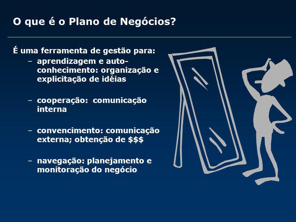 O que é o Plano de Negócios? É uma ferramenta de gestão para: –aprendizagem e auto- conhecimento: organização e explicitação de idéias –cooperação: co