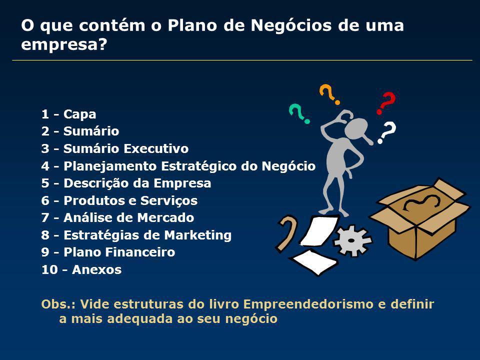 1 - Capa 2 - Sumário 3 - Sumário Executivo 4 - Planejamento Estratégico do Negócio 5 - Descrição da Empresa 6 - Produtos e Serviços 7 - Análise de Mer
