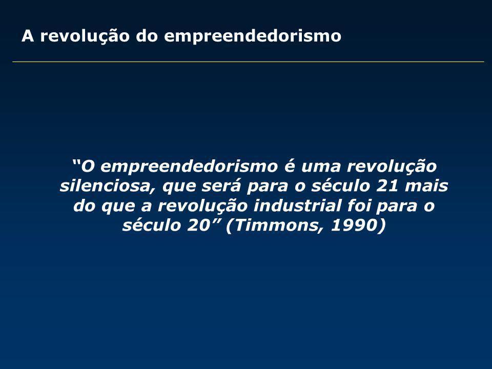 O empreendedorismo é uma revolução silenciosa, que será para o século 21 mais do que a revolução industrial foi para o século 20 (Timmons, 1990) A rev