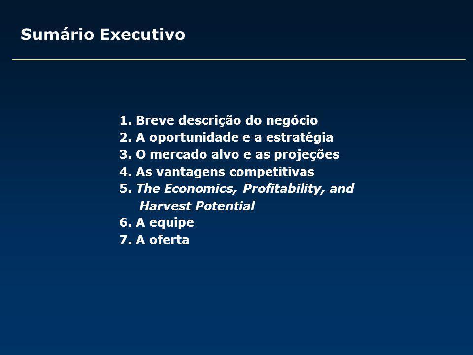 Sumário Executivo 1. Breve descrição do negócio 2. A oportunidade e a estratégia 3. O mercado alvo e as projeções 4. As vantagens competitivas 5. The