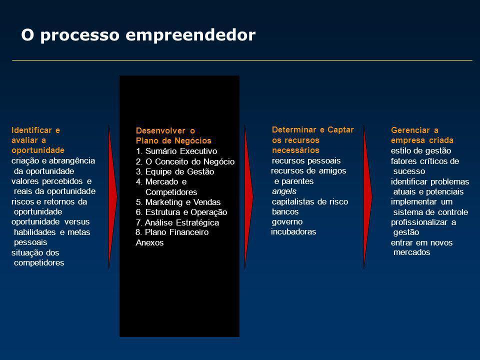 Fatores críticos de sucesso: 1) Uma excelente equipe de gestão 2) Um bom plano de negócios 3) Uma idéia realmente inovadora 4) Networking 5) Trabalho, trabalho, muito trabalho...