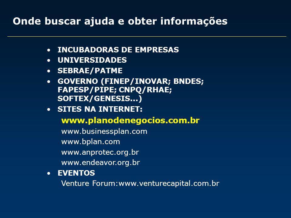 Onde buscar ajuda e obter informações INCUBADORAS DE EMPRESAS UNIVERSIDADES SEBRAE/PATME GOVERNO (FINEP/INOVAR; BNDES; FAPESP/PIPE; CNPQ/RHAE; SOFTEX/