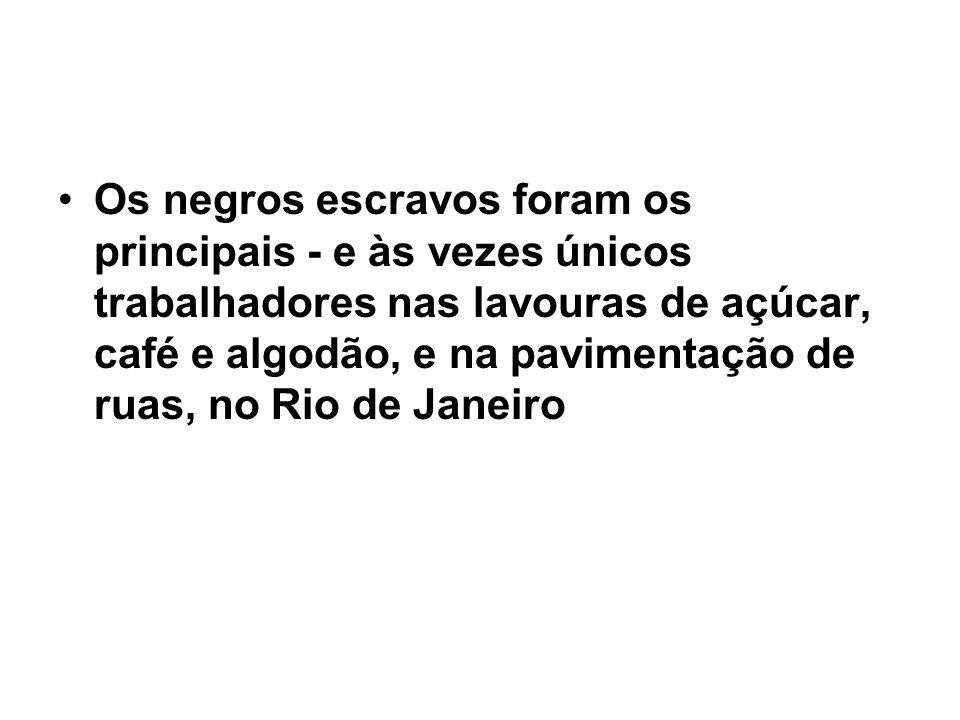 Os negros escravos foram os principais - e às vezes únicos trabalhadores nas lavouras de açúcar, café e algodão, e na pavimentação de ruas, no Rio de