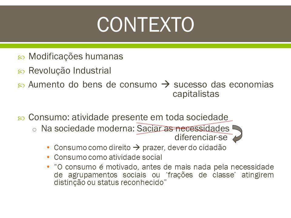 Modificações humanas Revolução Industrial Aumento do bens de consumo sucesso das economias capitalistas Consumo: atividade presente em toda sociedade