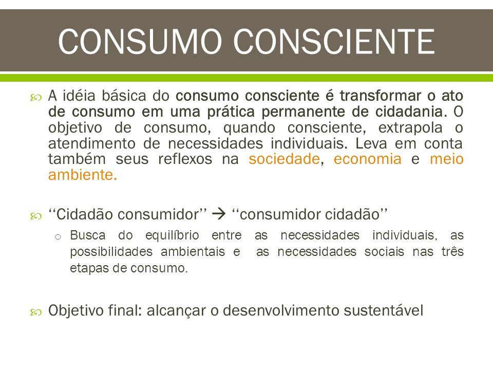 A idéia básica do consumo consciente é transformar o ato de consumo em uma prática permanente de cidadania. O objetivo de consumo, quando consciente,