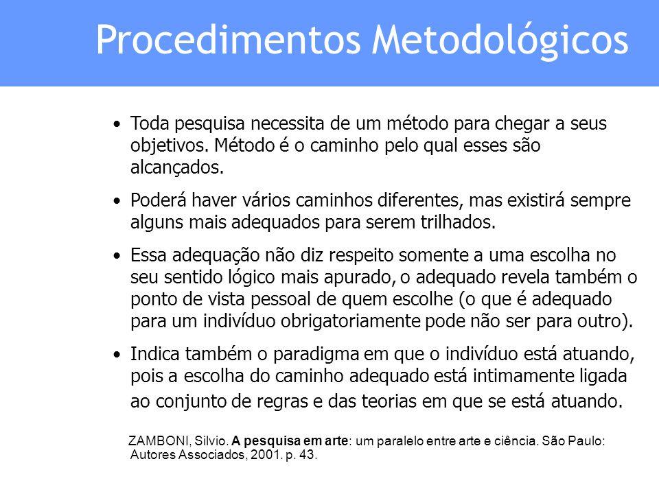 Procedimentos Metodológicos Toda pesquisa necessita de um método para chegar a seus objetivos. Método é o caminho pelo qual esses são alcançados. Pode