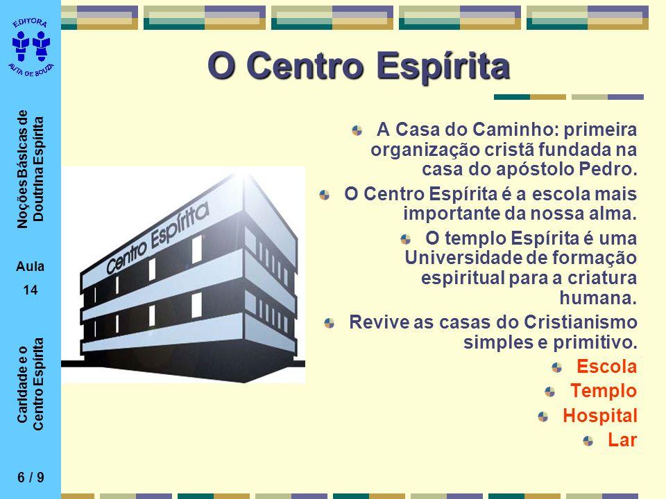 Noções Básicas de Doutrina Espírita Aula 14 Caridade e o Centro Espírita O Centro Espírita A Casa do Caminho: primeira organização cristã fundada na c