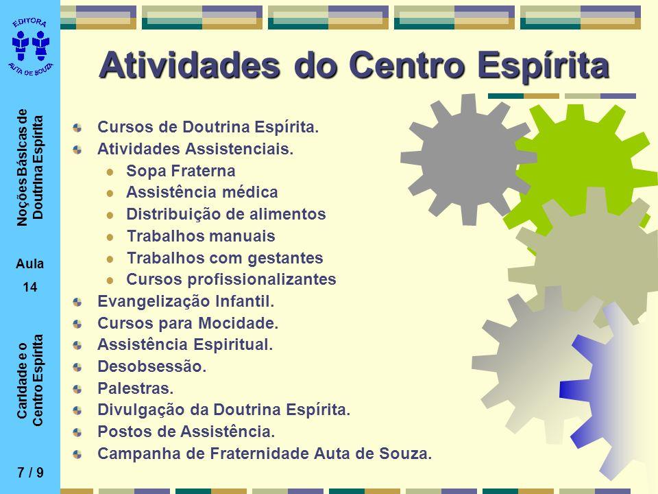 Noções Básicas de Doutrina Espírita Aula 14 Caridade e o Centro Espírita Atividades do Centro Espírita Cursos de Doutrina Espírita. Atividades Assiste