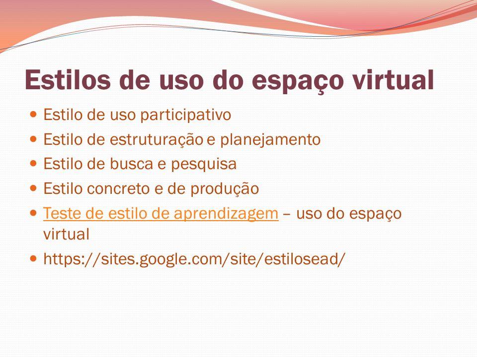 Estilos de uso do espaço virtual Estilo de uso participativo Estilo de estruturação e planejamento Estilo de busca e pesquisa Estilo concreto e de pro