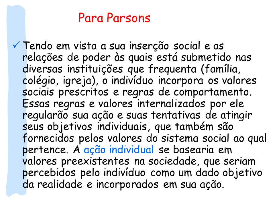 Para Parsons Tendo em vista a sua inserção social e as relações de poder às quais está submetido nas diversas instituições que frequenta (família, col