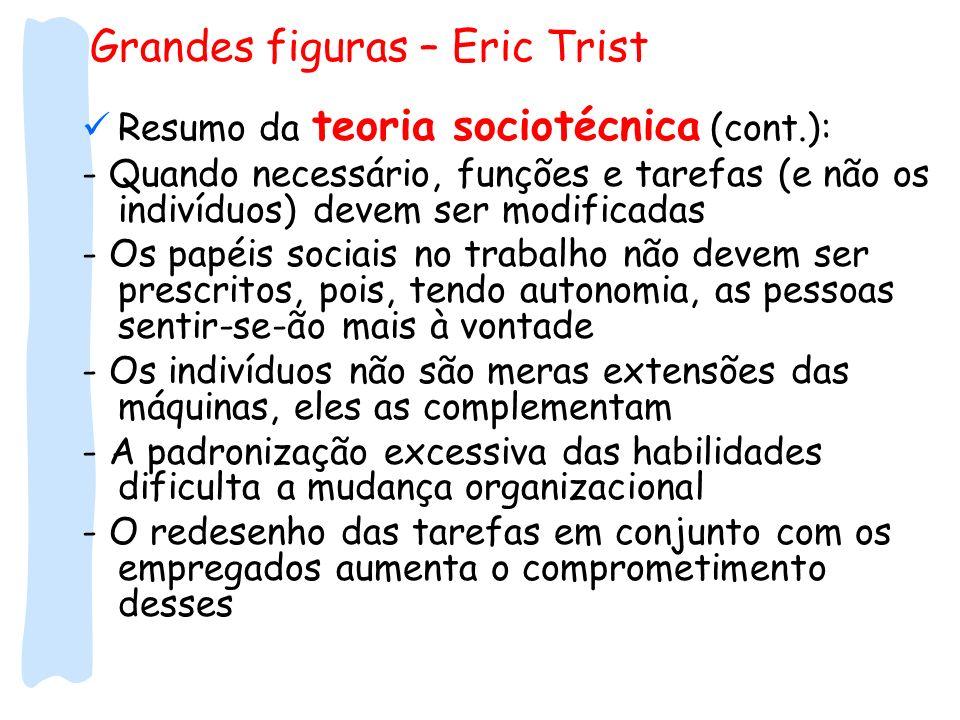 Grandes figuras – Eric Trist Resumo da teoria sociotécnica (cont.): - Quando necessário, funções e tarefas (e não os indivíduos) devem ser modificadas