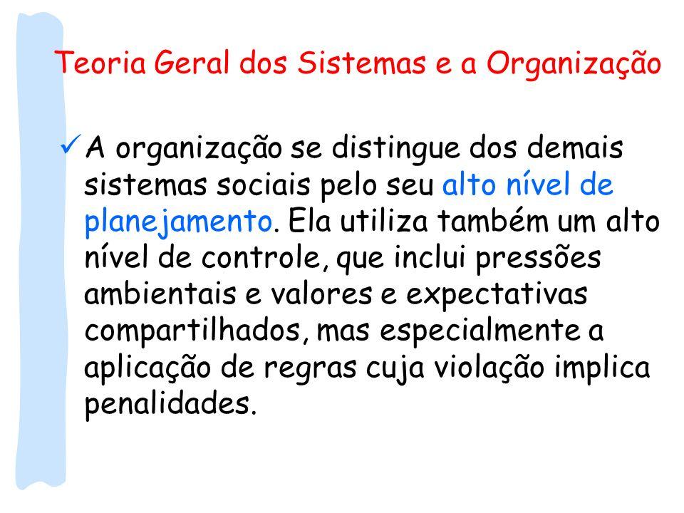 Teoria Geral dos Sistemas e a Organização A organização se distingue dos demais sistemas sociais pelo seu alto nível de planejamento. Ela utiliza tamb