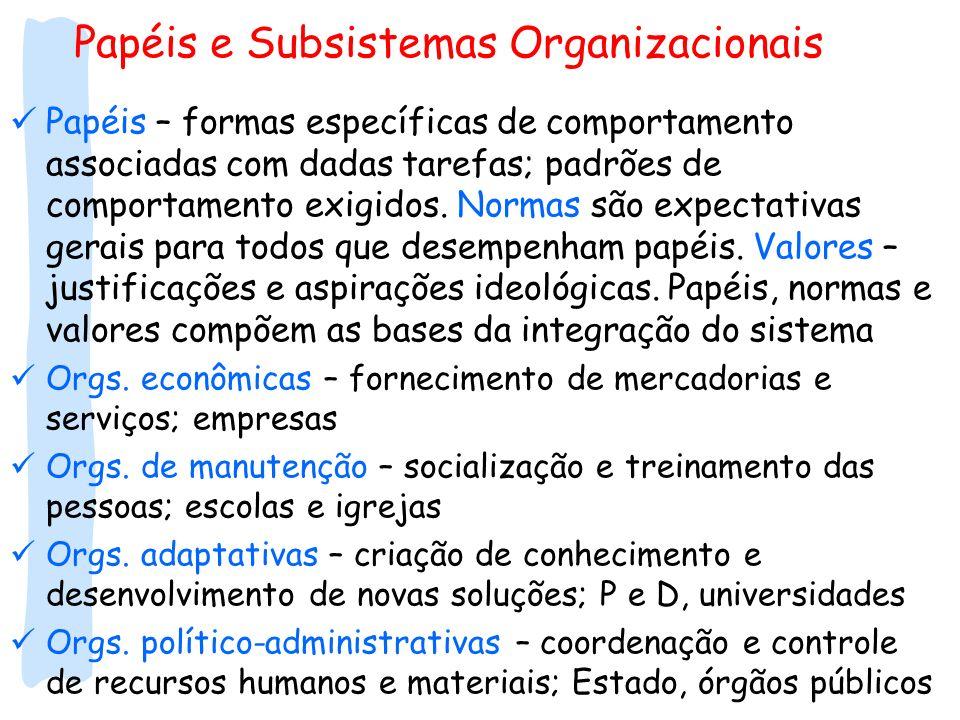 Papéis e Subsistemas Organizacionais Papéis – formas específicas de comportamento associadas com dadas tarefas; padrões de comportamento exigidos. Nor