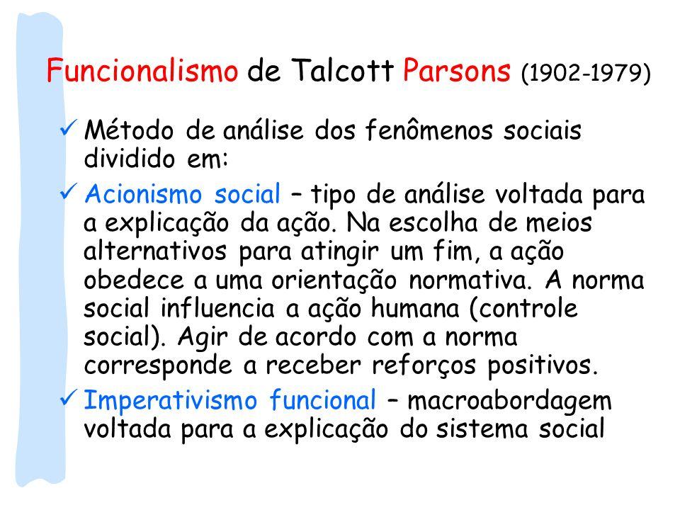 Funcionalismo de Talcott Parsons (1902-1979) Método de análise dos fenômenos sociais dividido em: Acionismo social – tipo de análise voltada para a ex