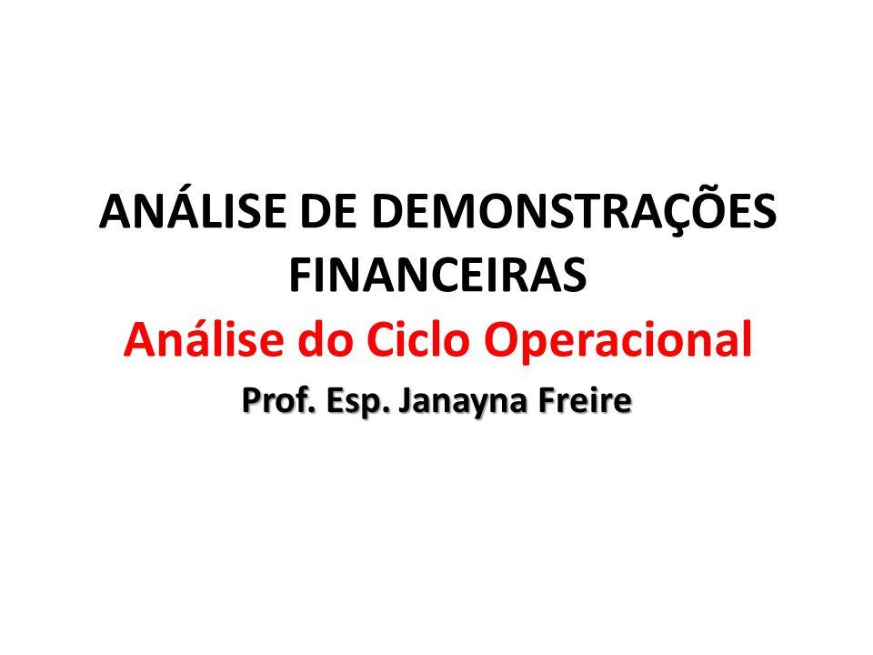 ANÁLISE DE DEMONSTRAÇÕES FINANCEIRAS Análise do Ciclo Operacional Prof. Esp. Janayna Freire