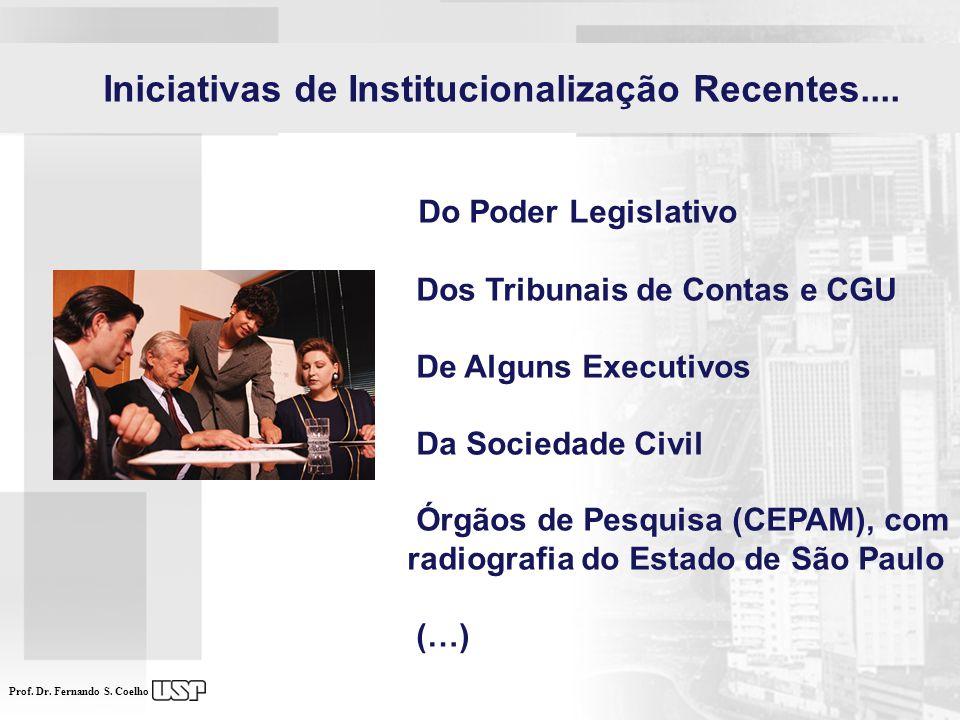 Prof. Dr. Fernando S. Coelho Iniciativas de Institucionalização Recentes.... Do Poder Legislativo Dos Tribunais de Contas e CGU De Alguns Executivos D
