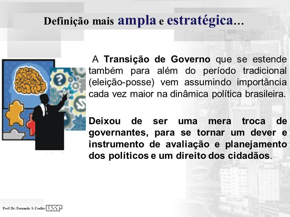 Prof. Dr. Fernando S. Coelho A Transição de Governo que se estende também para além do período tradicional (eleição-posse) vem assumindo importância c